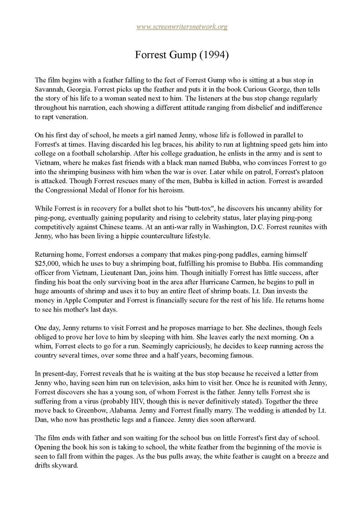 Forrest Gump One Page Synopsis