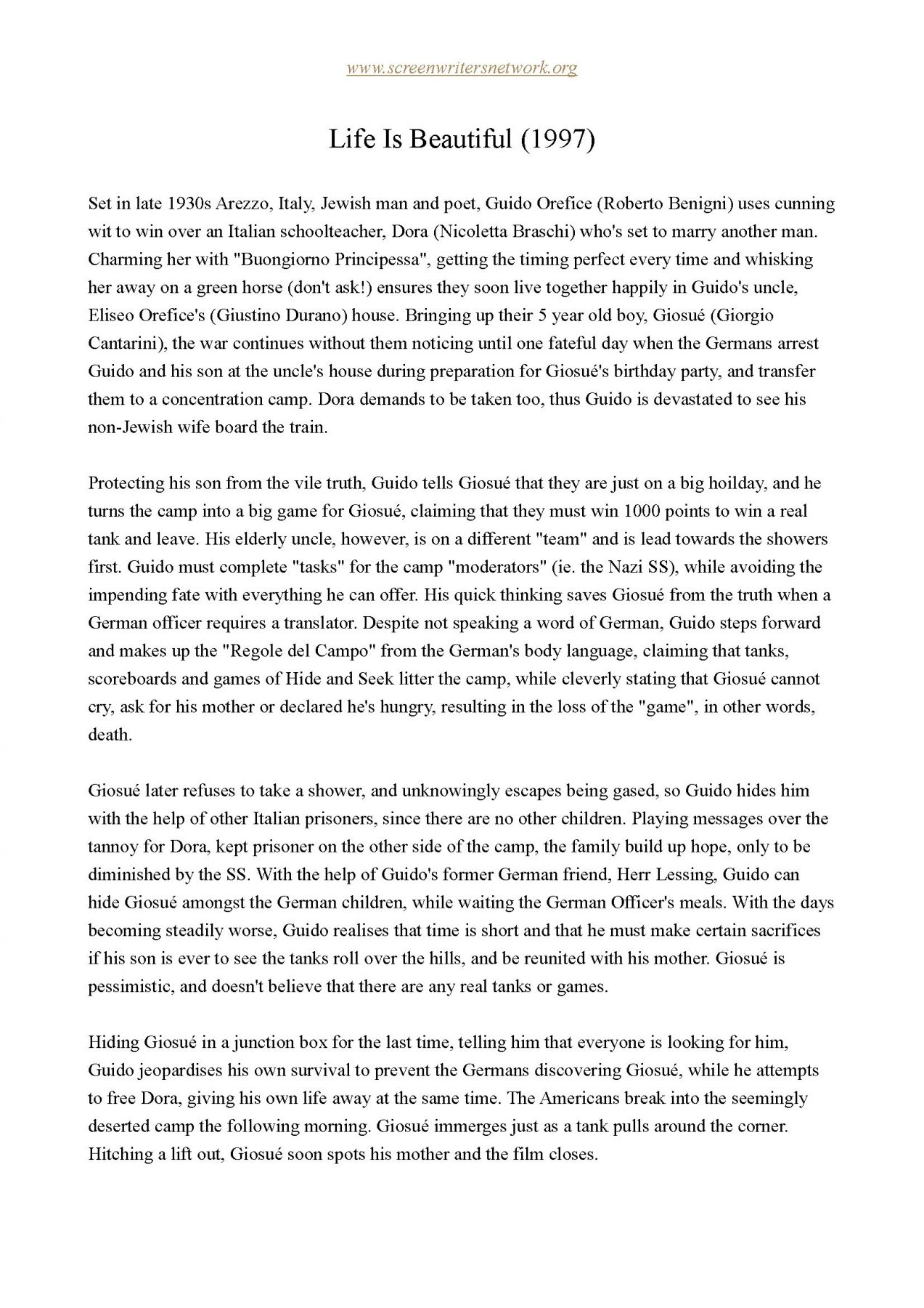 Life Is Beautiful One Page Synopsis